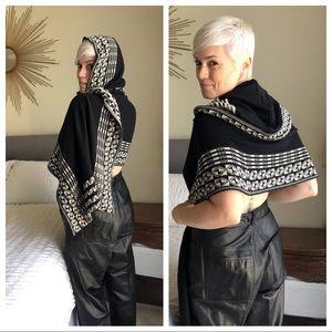 Hooded Sweater Scarf Wrap Poncho Shawl Goddis S/M